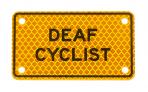 DEAF CYCLIST :: PLATE Yellow-Orange Diamond Grade